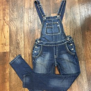 Miss Me Denim Overall Cuffed Skinny Size Small